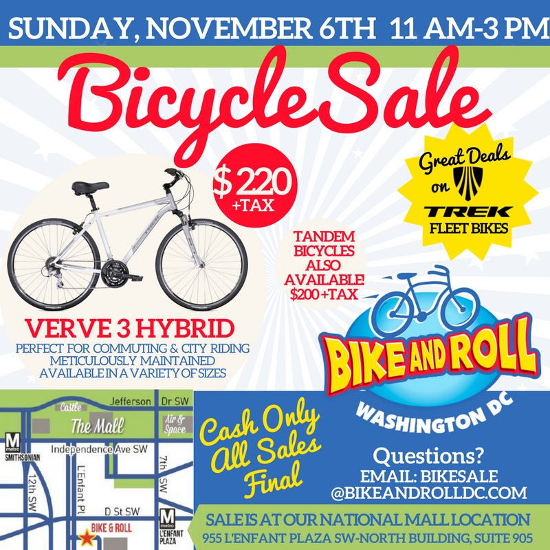 2016 BIKE SALE-SUNDAY NOV 6TH! – Bike and Roll DC